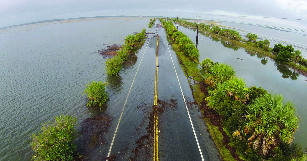 Highway 80 between Savannah and Tybee Island, GA. 10/28/15. Second day of flooding.
